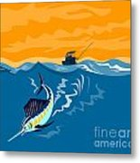 Sailfish Fish Jumping Retro Metal Print
