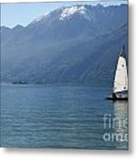 Sailing Boat And Mountain Metal Print