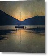 Sailing Boat At Night Metal Print