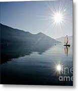 Sailing Boat On The Lake Metal Print