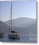 Sailing Boats At Dawn In Karacaoren Bay Metal Print