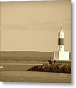 Sailing By The Marquette Presque Isle Lighthouse Metal Print by Mark J Seefeldt