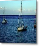 Sailing The Blue Waters Of Greece Metal Print