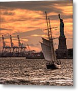 Sailing To Liberty  Metal Print