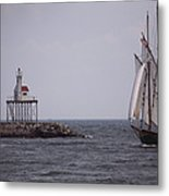 Sailing Vessel Entering Gloucester Metal Print