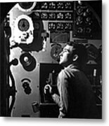 Sailor At Work In The Electric Engine Metal Print