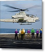 Sailors And Marines Watch An Ah-1z Metal Print