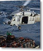 Sailors Attach Pallets Of Supplies Metal Print