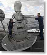 Sailors Conduct Maintenance On The Mk38 Metal Print