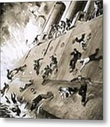 Sailors Escaping Hms Natal Which Caught Fire In Cromerty Firth In 1915 Metal Print