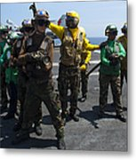 Sailors Fight A Simulated Fire Drill Metal Print