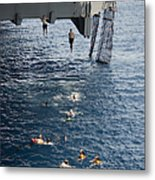 Sailors Jump To The Sea During A Swim Metal Print