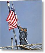 Sailors Lower The National Ensign Metal Print