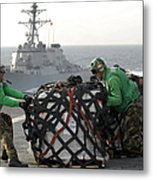 Sailors Move Supplies On The Flight Metal Print