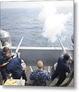 Sailors Perform A 21-gun Salute Aboard Metal Print by Stocktrek Images