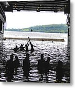 Sailors Play Football During A Swim Metal Print