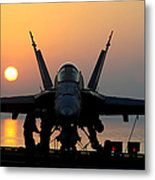 Sailors Prepare An Fa-18c Hornet Metal Print
