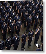 Sailors Stand At Attention During An Metal Print