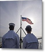Sailors Stand By To Lower The Ensign Metal Print