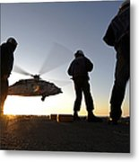 Sailors Watch A Helicopter Lift Metal Print