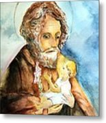 Saint Joseph And Child Metal Print by Myrna Migala