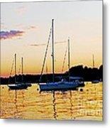 Salem Harbor Amber Sunset Metal Print