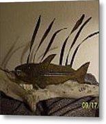 Salmon On Driftwood Metal Print