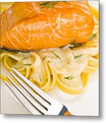 Salmon Steak On Pasta Decorated With Dill Metal Print