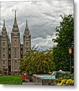 Salt Lake City Temple Grounds Metal Print