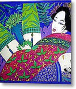 Samurai And Geisha Pillowing Metal Print