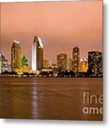 San Diego Skyline At Night Metal Print by Paul Velgos