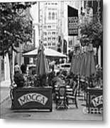 San Francisco - Maiden Lane - Outdoor Lunch At Mocca Cafe - 5d17932 - Black And White Metal Print