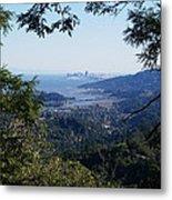 San Francisco As Seen Through The Redwoods On Mt Tamalpais Metal Print
