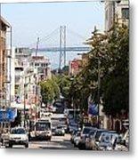San Francisco Bay Bridge Through Chinatown Metal Print