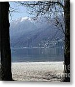 Sand Beach On An Alpine Lake Metal Print