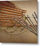 Sand Fence Falling Down On The Beach Metal Print
