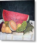 Sandia Con Frutas Metal Print