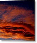 Sandia Heights Fiery Sunset Panoramic Metal Print