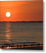 Sandpipers At Sundown Metal Print