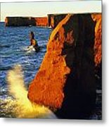 Sandstone Cliffs And Ocean Surf, La Metal Print