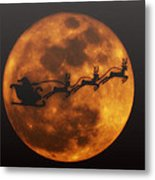 Santa Across The Sky Metal Print