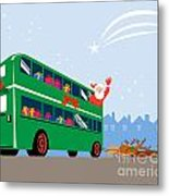Santa Claus Double Decker Bus Metal Print