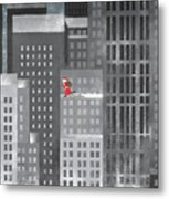Santa Clause Running On A Skyscraper Metal Print
