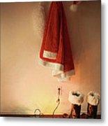 Santa Costume Hanging On Coat Hook With Christmas Lights Metal Print