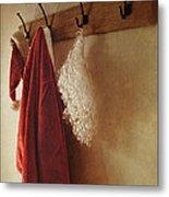 Santa Costume Hanging On Coat Rack Metal Print