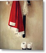 Santa Costume With Boots On Coathook Metal Print