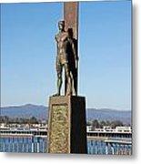 Santa Cruz Surfer Statue Metal Print by Paul Topp