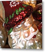 Santa Glass Ornament Metal Print