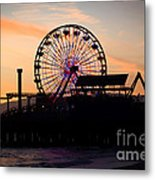 Santa Monica Pier Ferris Wheel Sunset Metal Print by Paul Velgos