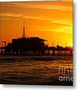 Santa Monica Pier Sunset Metal Print